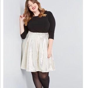 ModCloth White Gold Metallic Skater Skirt